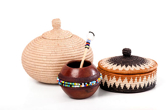 corporate gift, african craft, beaded pot